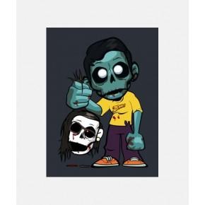"""Lienzos Textiles con marco """"Full Wrap"""" - Zombie con cabeza en mano"""