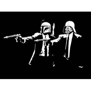 "Lienzos Textiles con marco ""Full Wrap"" -  Pulp Fiction Star Wars logo"