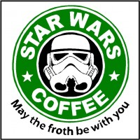 "Lienzos Textiles con marco ""Full Wrap"" - STAR WARS COFEE logo"